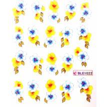 Körömmatrica kék-sárga virág BLE1022 (PNA)