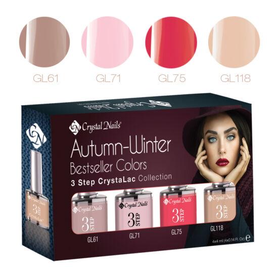Bestseller Colors Autumn-Winter 3step CrystaLac készlet - 4x4ml