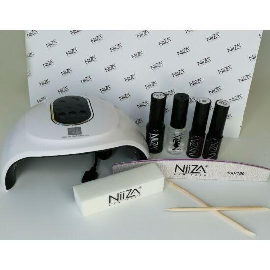 NiiZA Géllakk szett fixálásmentes fedőlakkal + 36W UV/LED lámpa (fehér)