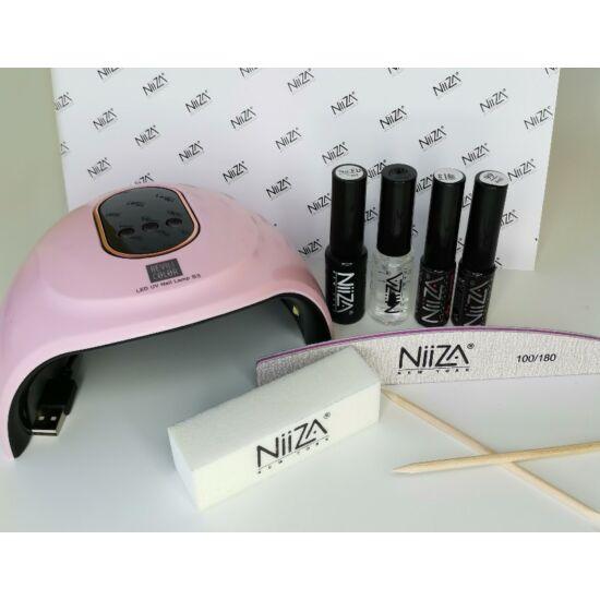 NiiZA Géllakk szett fixálásmentes fedőlakkal + 36W UV/LED lámpa (rózsaszín)