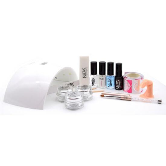 NiiZA Műköröm zselé szett + 24W UV/LED lámpa (fehér)
