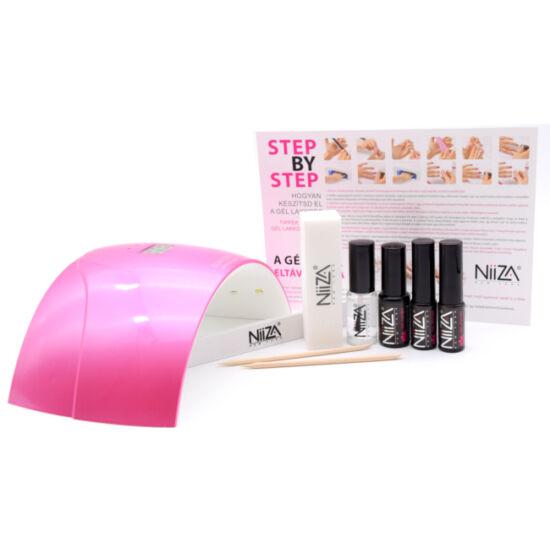 NiiZA Géllakk szett fixálásmentes fedőlakkal + 24W UV/LED lámpa (pink)