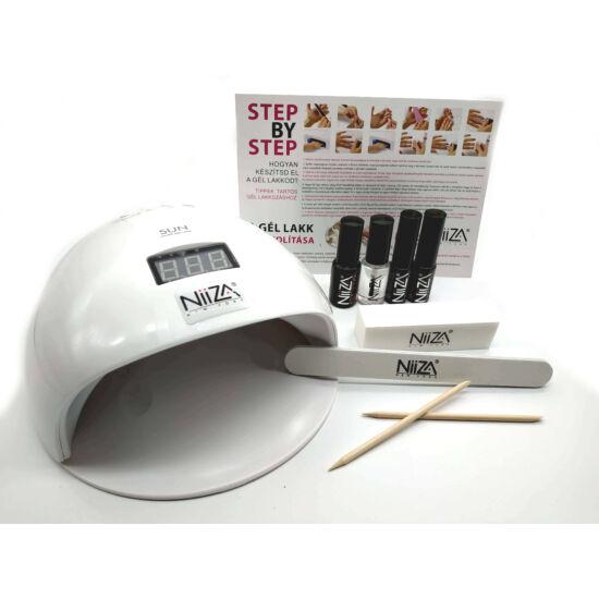 NiiZA Géllakk szett fixálásmentes fedőlakkal + 48W UV/LED lámpa (fehér)