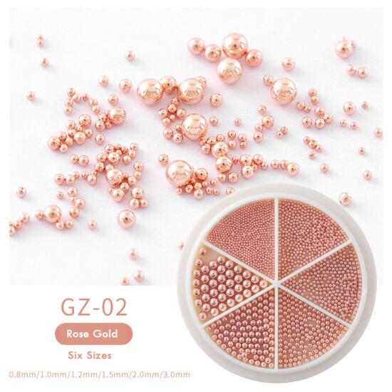 Körömdíszek tárcsában - szórógyöngy GZ-02 rose gold