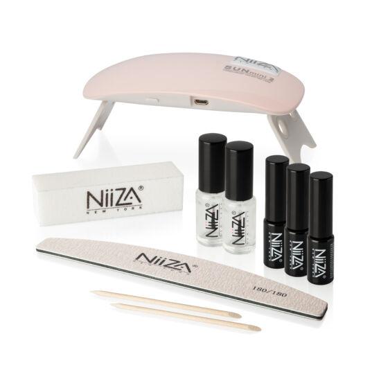 NiiZA Géllakk szett fixálásmentes fedőlakkal + 6W UV/LED lámpa-rózsaszín